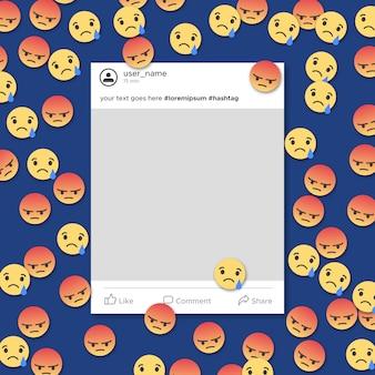 Notification de modèle de cadre de médias sociaux en colère et triste