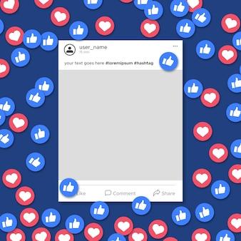 Notification de modèle de cadre de médias sociaux