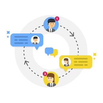 Notification de nouveaux messages de chat, réseau social, actualités, bulles
