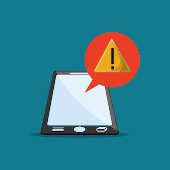 Notification de panneau d'avertissement et image de téléphone portable