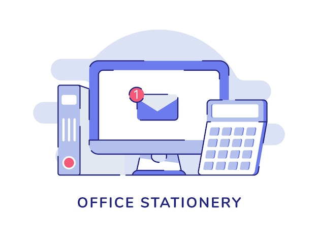 Notification par e-mail de concept de papeterie de bureau sur l'écran de l'ordinateur d'affichage