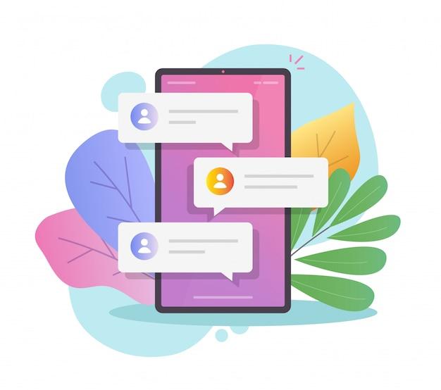 Notification texte des messages de chat en ligne sur téléphone mobile