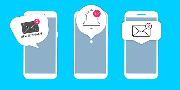 Notifications avec téléphone. notification par e-mail non lue. nouveau message sur l'écran du smartphone