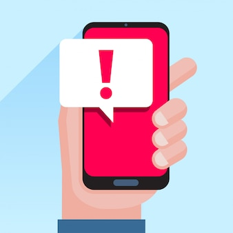 Notifications téléphoniques, nouveaux concepts de messages reçus. main tenant le smartphone avec bulle de dialogue et icône de point d'exclamation