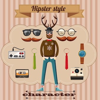 Notion de caractère de style hipster, style cartoon