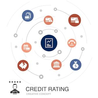 Notion de cercle coloré de cote de crédit avec des icônes simples. contient des éléments tels que le risque de crédit, la cote de crédit, la faillite, les frais annuels
