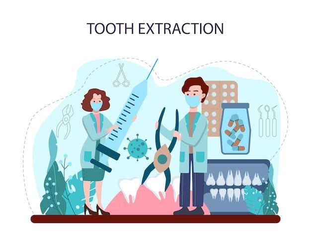 Notion de dentiste. docteur dentaire en uniforme extrayant la dent humaine