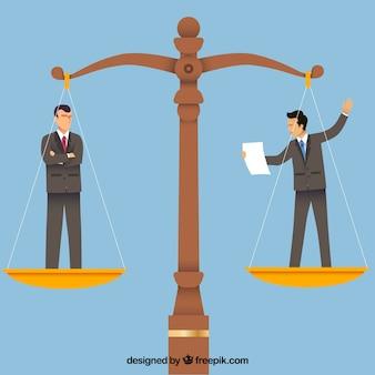 Notion de droit et de justice avec un design plat