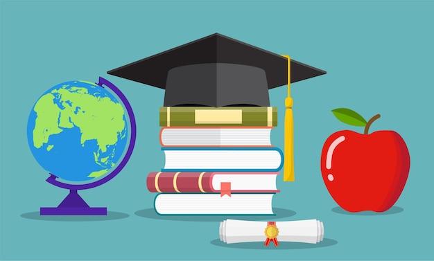Notion d'éducation. chapeau de diplômé, globe, livres