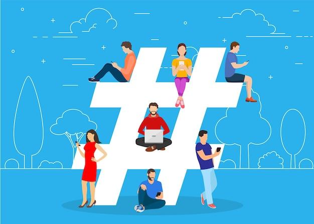 Notion de hashtag. personnes utilisant un mobile