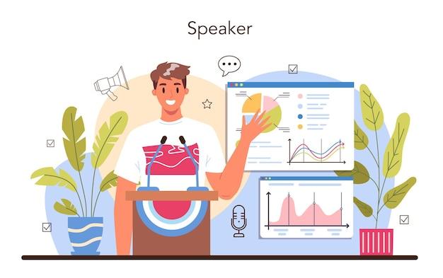 Notion de haut-parleur. spécialiste de la rhétorique ou de l'élocution parlant