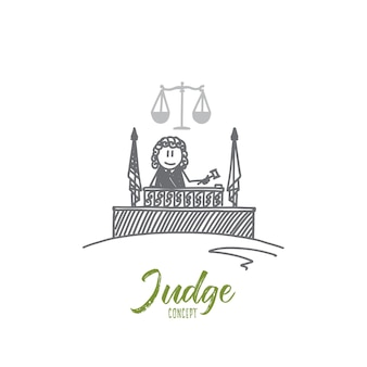Notion de juge. juge dessiné à la main. marteau d'un juge et de la balance les symboles de la loi isolé illustration vectorielle.