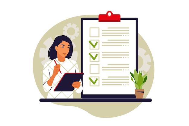 Notion de liste de contrôle. réalisation de tâches commerciales. illustration vectorielle. appartement