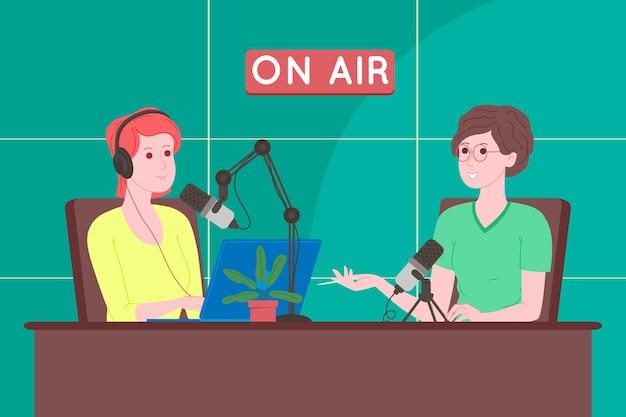 Notion de podcast. illustration de dessin animé de podcast. podcaster parlant au microphone et enregistrant un podcast audio ou une émission en ligne. présentateur de radio diffuse à la radio. plate illustration vectorielle.
