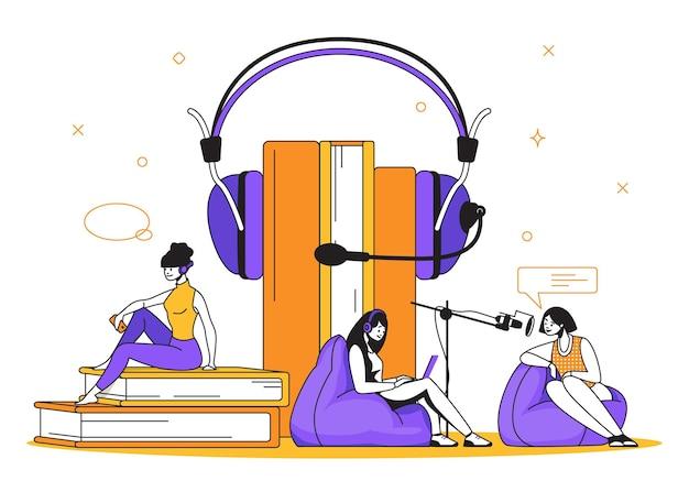Notion de podcast. interview radio et diffusion en ligne, éducation et formation en ligne