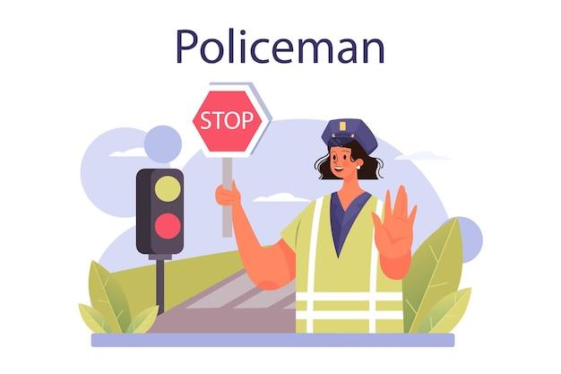 Notion de policier. détective faisant un interrogatoire enquêtant sur un crime