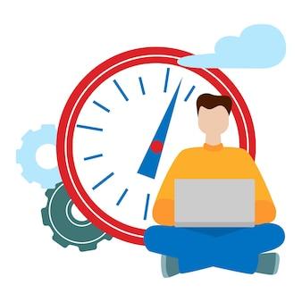 Notion de réseau social. travail à distance en indépendant. homme de travail assis avec un ordinateur. illustration de vecteur de style dessin animé plat isolé sur fond blanc
