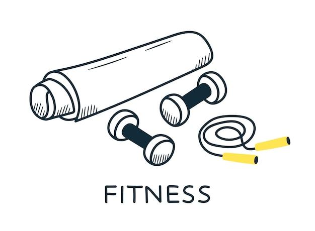Notion de sport. tapis de fitness, haltères, corde. style de griffonnage.