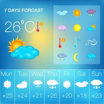 Notion de symboles météo, style cartoon