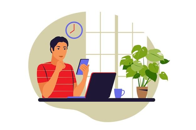 Notion de télétravail. freelance travaillant à domicile. illustration vectorielle. appartement.