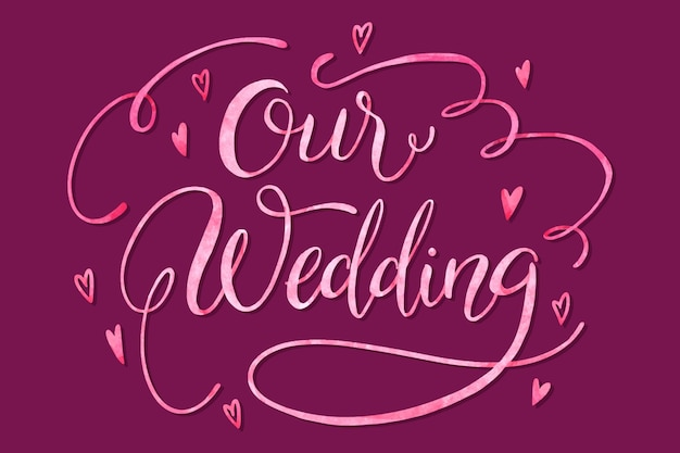 Notre mariage compte sur le lettrage fond violet