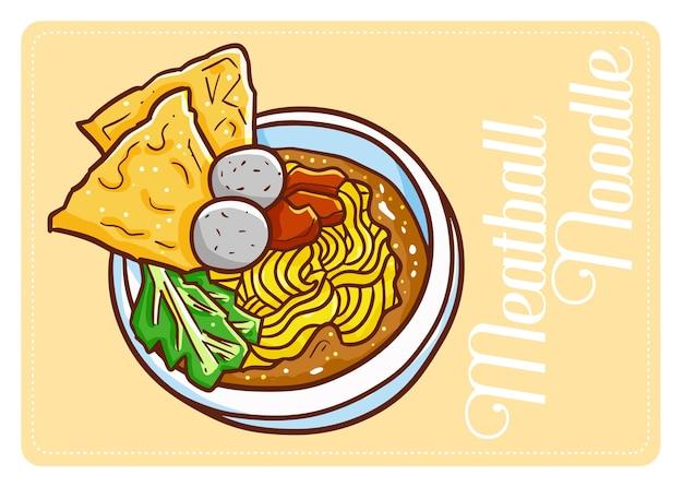 Nouilles asiatiques drôles et délicieuses avec des boulettes de viande et des craquelins dessus