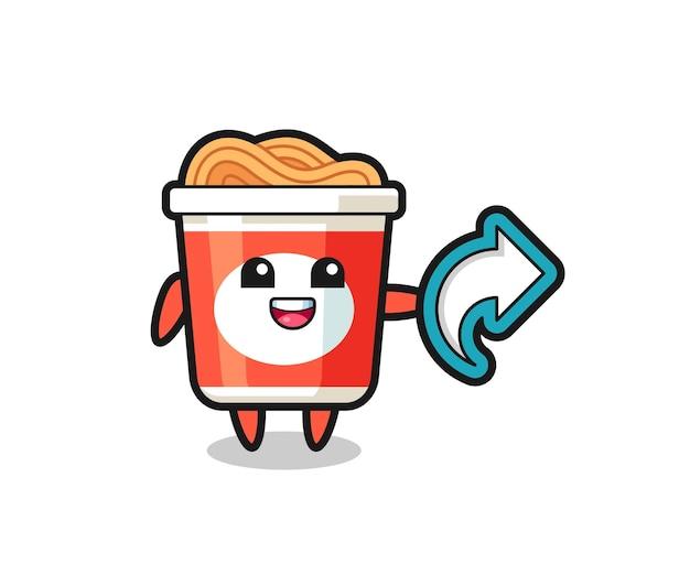 Les nouilles instantanées mignonnes tiennent le symbole de partage des médias sociaux, la conception de style mignon pour le t-shirt, l'autocollant, l'élément de logo