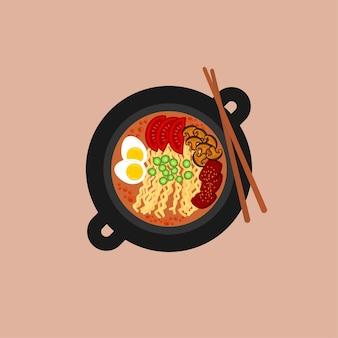 Nouilles plates ramen dans un bol noir