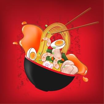 Nouilles ramen dans un bol et rouge