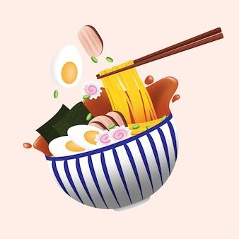Nouilles ramen japonaises dans un bol en porcelaine à rayures bleues