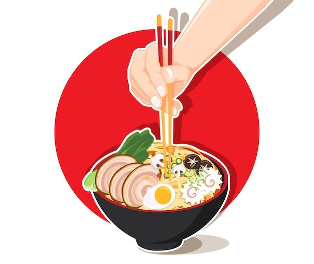 Nouilles ramen japonaises, soupe de nouilles asiatiques traditionnelles, illustration.