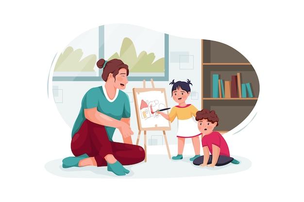 Nounou avec de jolis petits enfants jouant et dessinant à la maison
