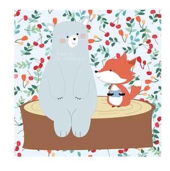 Nounours mignon et renard en joli fond de cerise