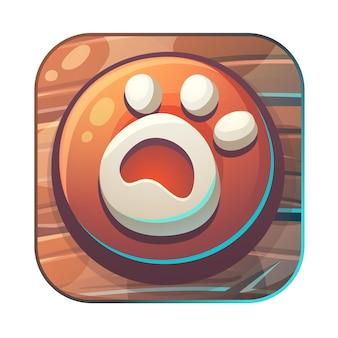 Nourrir l'illustration stylisée de l'icône de l'empreinte de l'interface graphique de renard