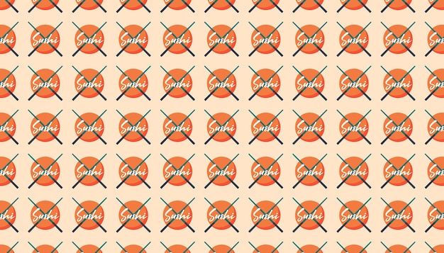 Nourriture asiatique. cuisine japonaise, chinoise. logo de sushi avec des bâtons. motif, texture, fond, bannière