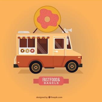 Nourriture et bagels rapide camion