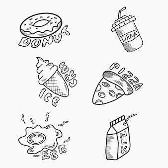 Nourriture et boissons style art doodle