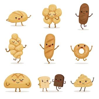 Nourriture de boulangerie drôle avec différentes émotions. caractères de vecteur en style cartoon