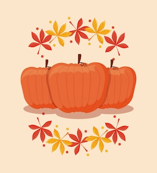 Nourriture citrouille pour le jour de thanksgiving avec des feuilles d'érable