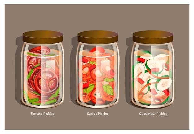 Nourriture conservée dans des bocaux en verre vue de dessus