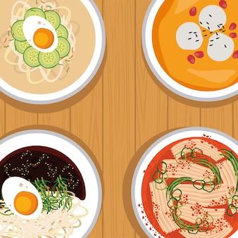 Nourriture coréenne quatre icônes