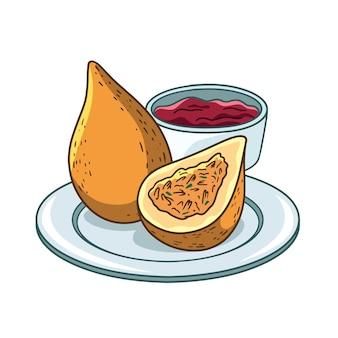Nourriture de coxinha dessinée à la main