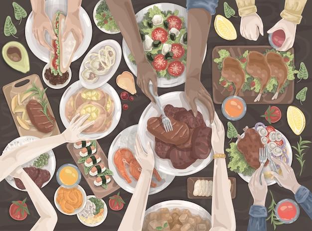 Nourriture, déjeuner, dîner, table de vacances, ensemble de la famille