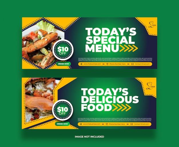 Nourriture délicieuse bannière de promotion de publication de médias sociaux restaurant créatif
