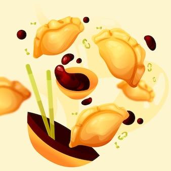 Nourriture délicieuse de gyozas design plat