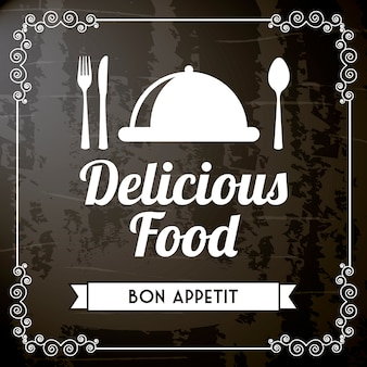 Nourriture délicieuse sur illustration vectorielle fond noir