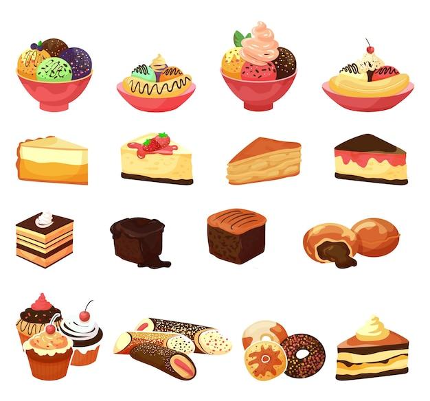 Nourriture de dessert, ensemble de gâteaux sucrés, illustration vectorielle, pâtisserie au chocolat de la boulangerie, isolée sur un délicieux petit gâteau blanc avec une crème savoureuse.