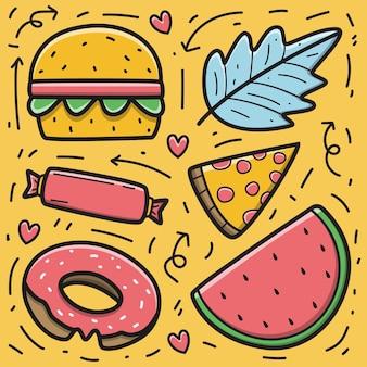 Nourriture de dessin animé doodle kawaii dessiné à la main