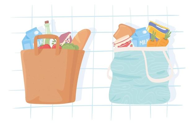 Nourriture d'épicerie dans des sacs