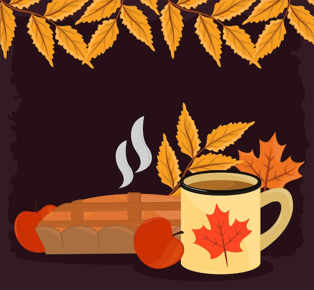 Nourriture et feuilles d'automne